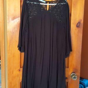 Ladies black gauze swing dress lace yoke